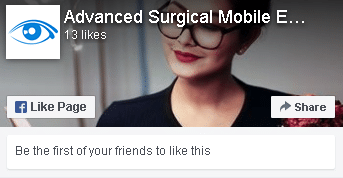 Facebook window link to Advanced Surgical Mobile Eyecare Facebook Page
